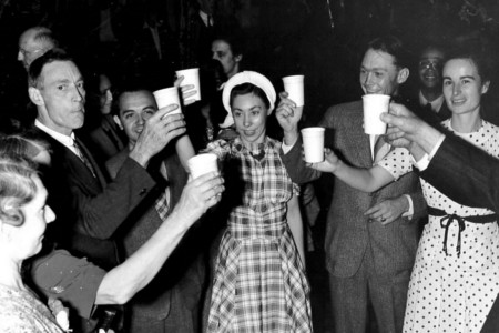 Farmers and Consumers celebrate the Co-Op's success together by drinking milk. Photo taken at the Delhi Barn Dance in New York State.