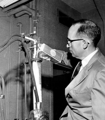 Harry P. Gregor conducted basic research on ion exchange resins, which he realized could be the basis for a purification technology. He developed several application for the gels, among them removing radioactive materials from water, and during the strontium scare of the 1960's, a strontium-90 from milk.